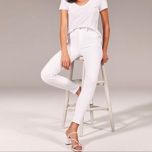 Abercrombie high rise super skinny white jeans